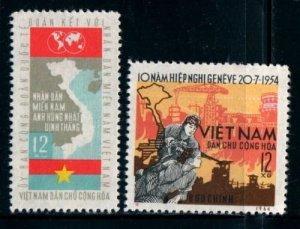 Vietnam 1964 MNH Stamps Scott 315-316 Army Soldiers Geneva Agreement Industry