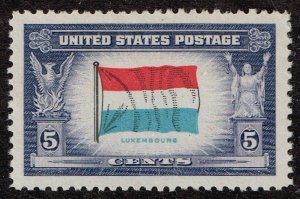US STAMP 912 – 1943 Overrun Countries: 5c Flag of Luxembourg MNH SUPERB