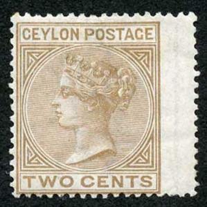 Ceylon SG121 2c Pale Brown Wmk Crown CC Perf 14 Mint (hinge remainder)