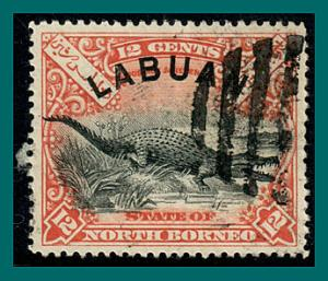 Labuan 1897 Crocodile, perf 15, cancelled  #80,SG95a
