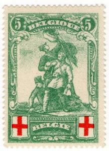 (I.B) Belgium Great War Cinderella : Red Cross Charity Stamp 5c