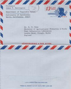 United States 1970 13c Aerogramme Davis California-Slough UK used VGC