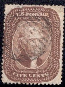 US Stamp Scott #29 5c Brown Jefferson USED SCV $350