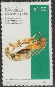 MEXICO NEW ISSUE $1P POPULAR ARTIFACTS 2021. SELF-ADHESIVE. MINT, NH. VF.