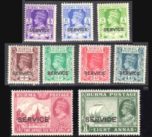 BURMA 1939 Sc O15-O23 Official Mint Hinged