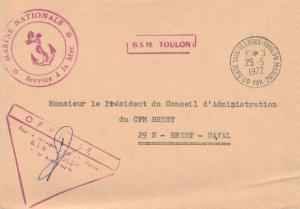 France Military Free Mail 1972 83-Base Sous-Marins-Toulon Marine, Var to Bres...