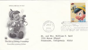 2004, Art of Disney: Friendship-Pinocchio, Jimmy Cricket, PCS, FDC (E9224)