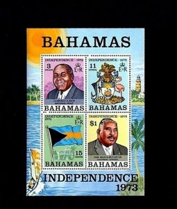 BAHAMAS - 1973 - INDEPENDENCE - FLAG - ARMS - GOVERNMENT HOUSE + MINT S/SHEET!