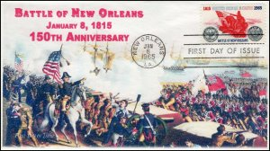 A0-1261,1965, Battle of New Orleans  FDC, SC 1261, Add-on Cachet, 150th Annivers