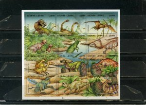 SIERRA LEONE 1995 PREHISTORIC ANIMALS/DINOSAURS SHEET OF 12 STAMPS MNH