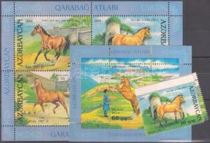 Azerbaijan stamp Horses margin set + blocks MNH 2006 650-653 + 68-69 WS116358