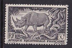French Equatorial Africa   #167  MNH 1946 Rhinoceros  python  30c