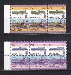 St Lucia 809 Color Error Strips MNH Trains, Locomotives (A)