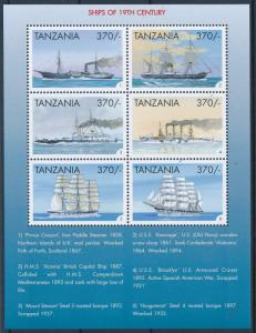 [81296] Tanzania 1999 Ships Boats Victoria Kearsage Brooklyn Sheet MNH