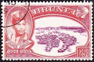 BRUNEI 1949 25c Purple & Red-Orange SG94 FU