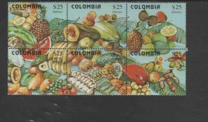 COLOMBIA #C711  1981  FRUITS     MINT VF NH  O.G BLOCK 6