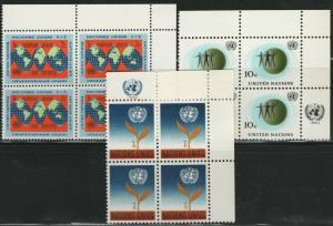 UN NY MNH Scott # 125-127 Inscription Blocks (12 Stamps) -1