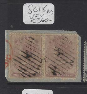 CEYLON  (P3011B)  QV  1/2D  SG 18     PR ON PIECE    VFU