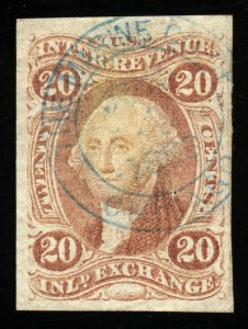 B323 U.S. Revenue Scott R42a 20c Inland Exchange imperforate, blue handstamp cxl