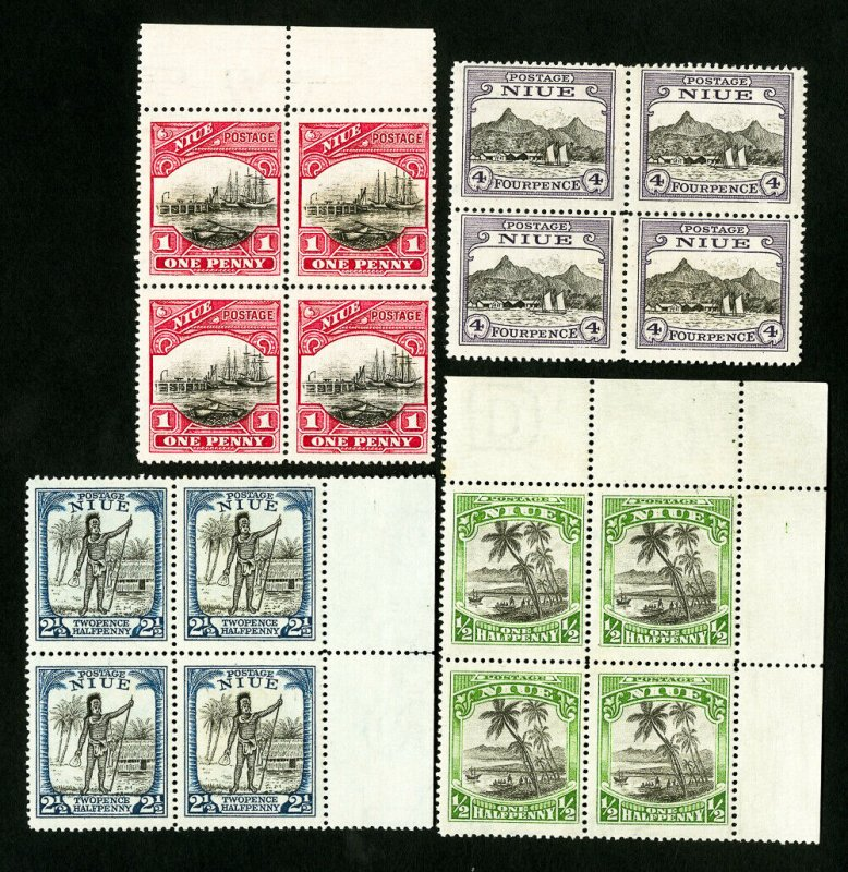 Niue Stamps # 41-4 VF Blocks of 4 OG NH Scott Value $69.00