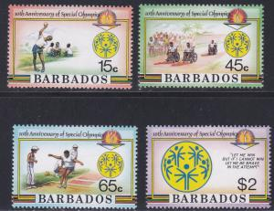 Barbados # 697-700, National Special Olympics 10th Anniversary, NH, 1/2 Cat.