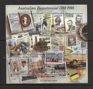 TONGA, 672, MNH, SHEET OF 12, AUSTRALIAN BICENTENNIAL 1788-1988