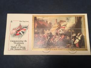 ICOLLECTZONE Jersey 1981 Battle of Jersey Sov Sheet First Day Cover (A400)
