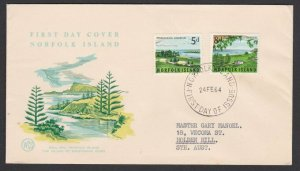 NORFOLK IS 1964 Views FDC - Wesley cover....................................C747