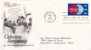 1975, Honoring Collective Bargaining, Art Craft, FDC (E12287)