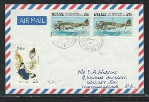 BELIZE (P0209B) 25C AIRPLANE PR A/M COVER SITTEE RIVER TO ENGLAND