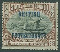 North Borneo SC#111 (SG#133) Dhow, o'printed, 8c, MH thin