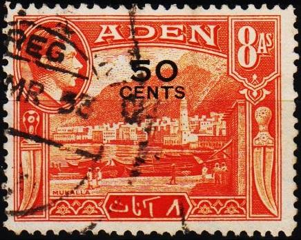 Aden.1951 50c on 8a  S.G.41 Fine Used