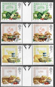 Great Britain # 1248-51  Food & Farming  GUTTER PAIRS   (4) Mint NH