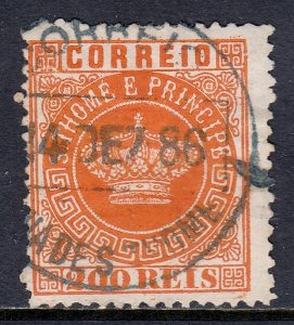 St. Thomas and Prince Islands - Scott #8 - Used - See description - SCV $6.25