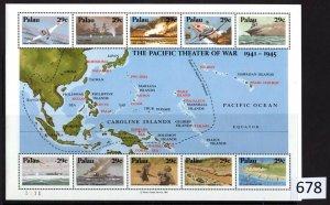 $1 World MNH Stamps (678), Palau 1941-45 War, Souvenir Sheet of 10
