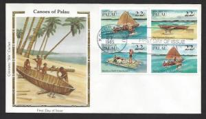 PALAU 1985 CANOES & RAFTS Set as BLK4 Scott 70a on COLORANO SILK Cachet FDCs