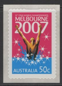 AUSTRALIA SG2768 2007 12th FINA WORLD CHAMPIONSHIPS S.ADHESIVES MNH