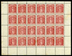 BRITISH VIRGIN ISLANDS-1887-9 1d Rose-Red.  A complete sheet of 24 stamps Sg 33