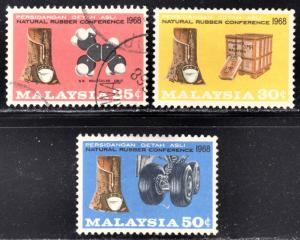 Malaysia Scott 53-55  complete set  F to VF mint & used.