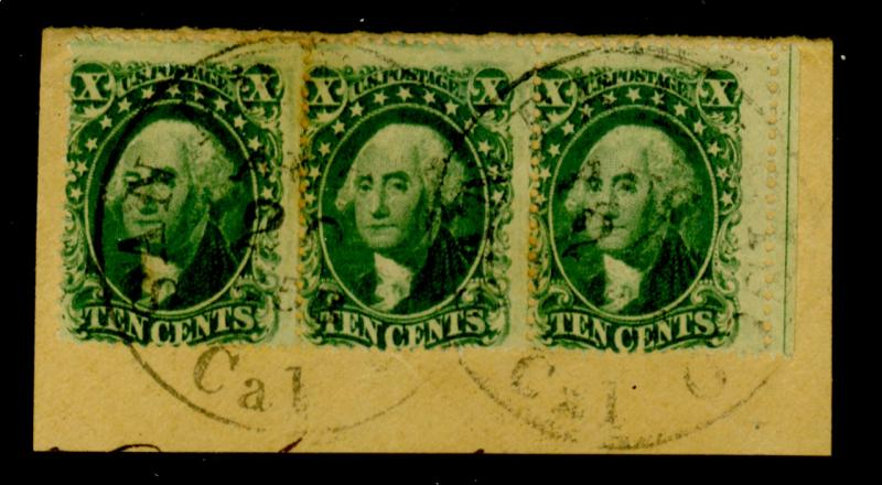 33 Used Strip of 3Fine Cat$600