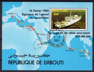 Djibouti 1984 Sc#C192 Ship Submarine cable construction S/S (1) Fine Used