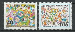 Croatia 1992 Olympic Games - Barcelona 2 MNH Stamps