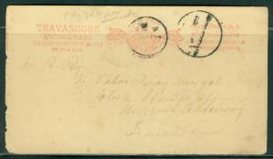 India Travancore H&G # 2, postal card, used, issued 1889/90