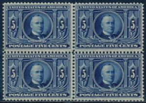 #326 5¢ LOUISIANA PURCHASE F-VF OG NH BLOCK OF 4 CV $800.00 BQ9098