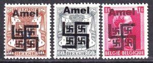 BELGIUM WW2 AMEL SWATZTIKA OVERPRINTS OG NH U/M F/VF BEAUTIFUL GUM x3 DIFFERENT