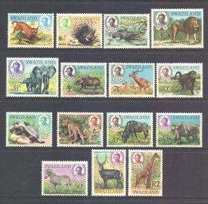 Swaziland Scott 160/174 - SG161/175, 1969 Animals Set mint (see description)