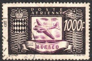 MONACO-1949 Airplanes Air Post 1000F Sg 326c GOOD USED V40539