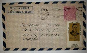 O) 1965 CUBA. SPANISH ANTILLES, AEROGRAMME, SATELLITES AND ROCKETS 10c, DR TOMAS