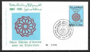 Morocco 642 200th USA Diplomatic Relations FDC First Day Cover (z2)
