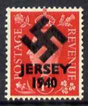 Jersey 1940 Swastika opt on Great Britain KG6 1d red